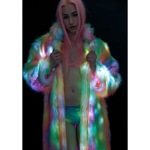 Jackets & Blazers - J Valentine Rainbow Flashing Lights Long Coat